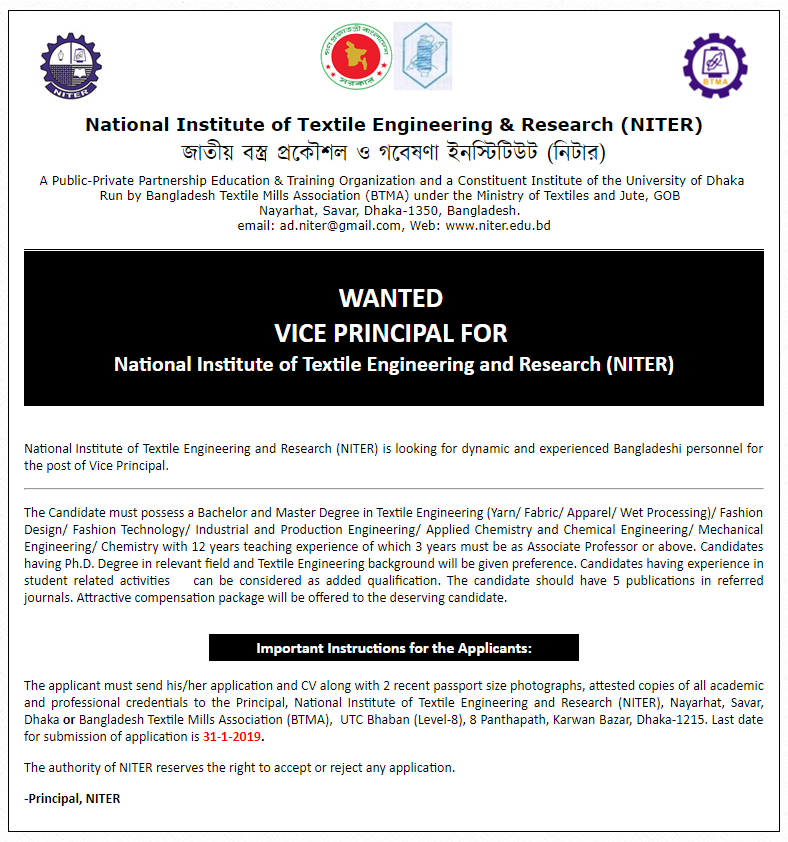 National Institute of Textile Engineering & Research Job Circular 2019