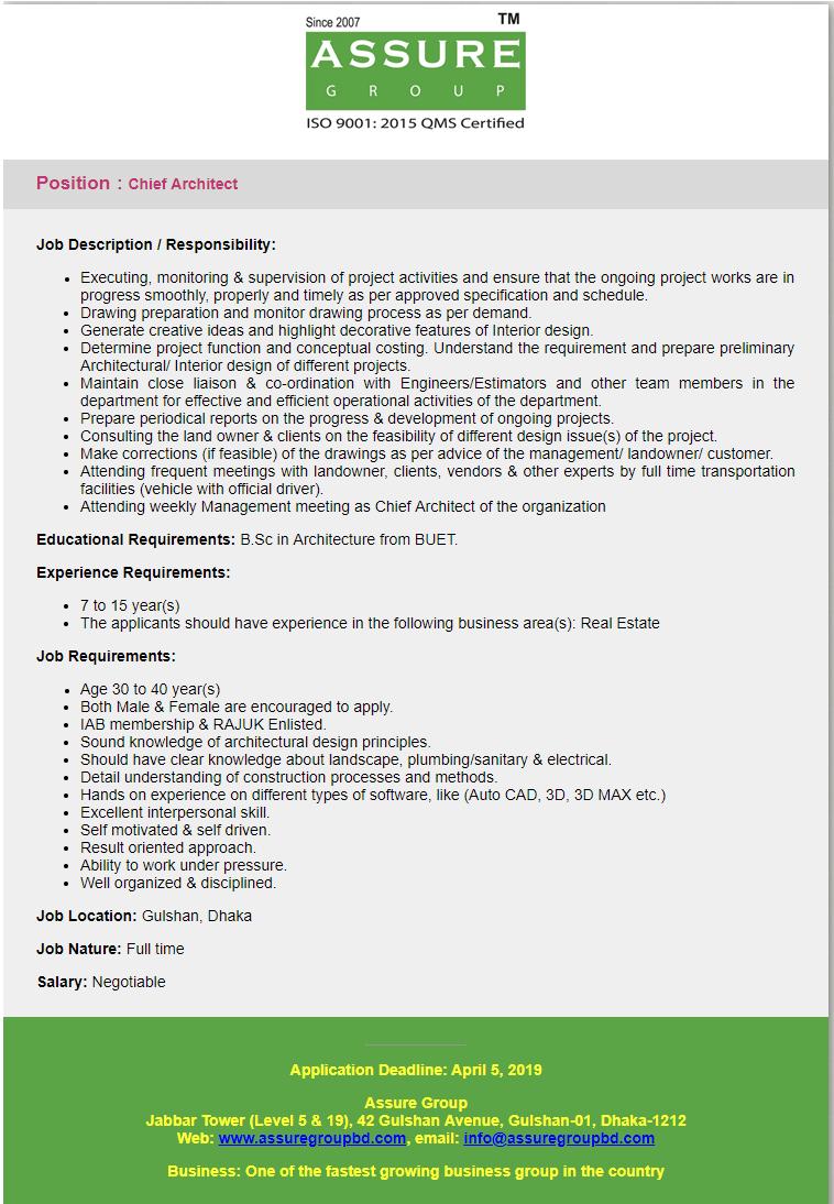 Assure Group Job Circular 2019