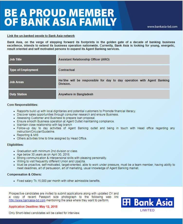 BANK ASIA JOBs CIRCULAR 2018