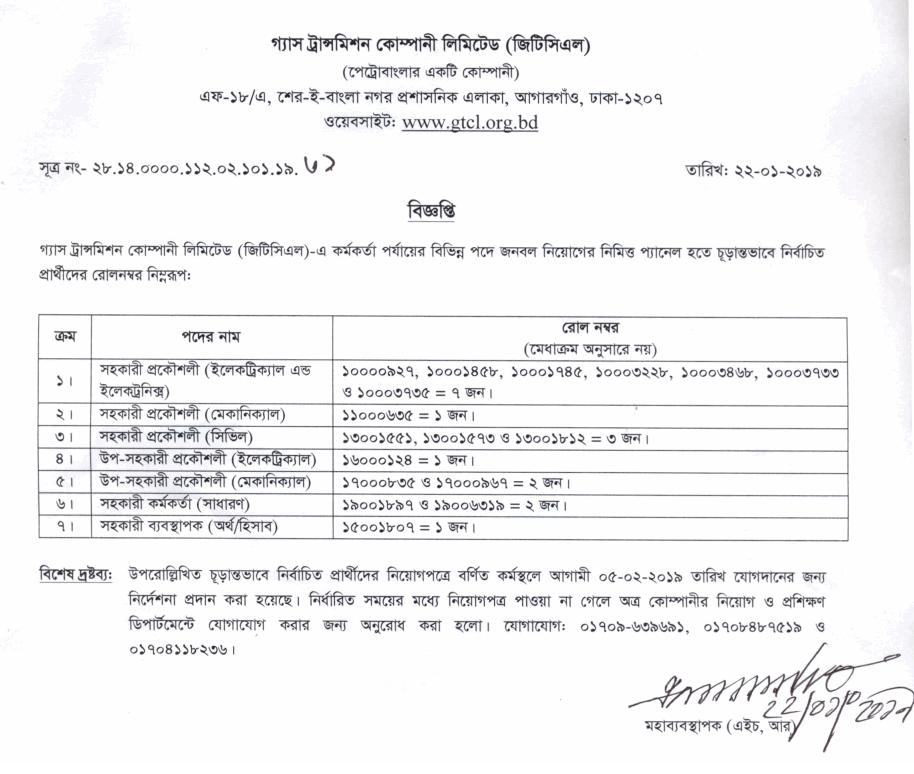 Gas Transmission Company Limited (GTCL)Job Circular 2019