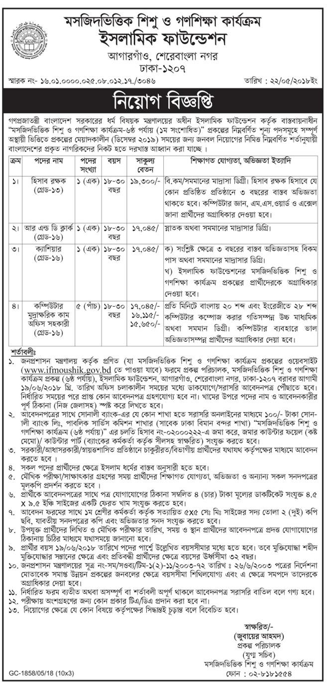 Ministry of Religious Affairs Job Circular 2018
