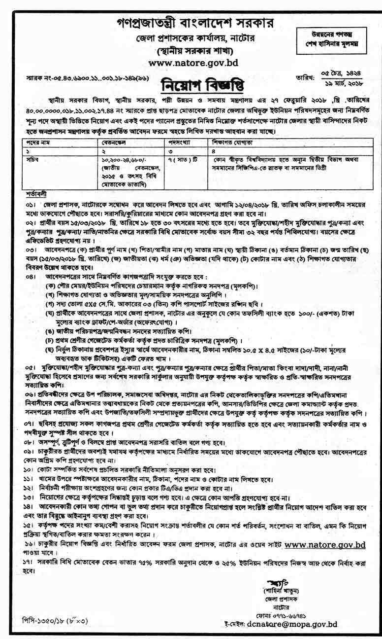 Office Of The District Commissioner Job Circular 2018