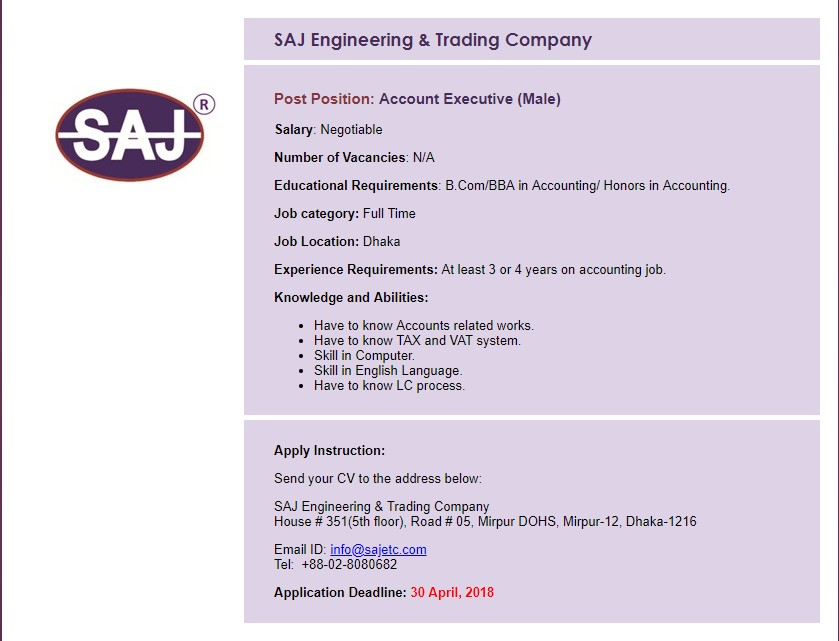 SAJ Engineering & Trading Company Job Circular 2018