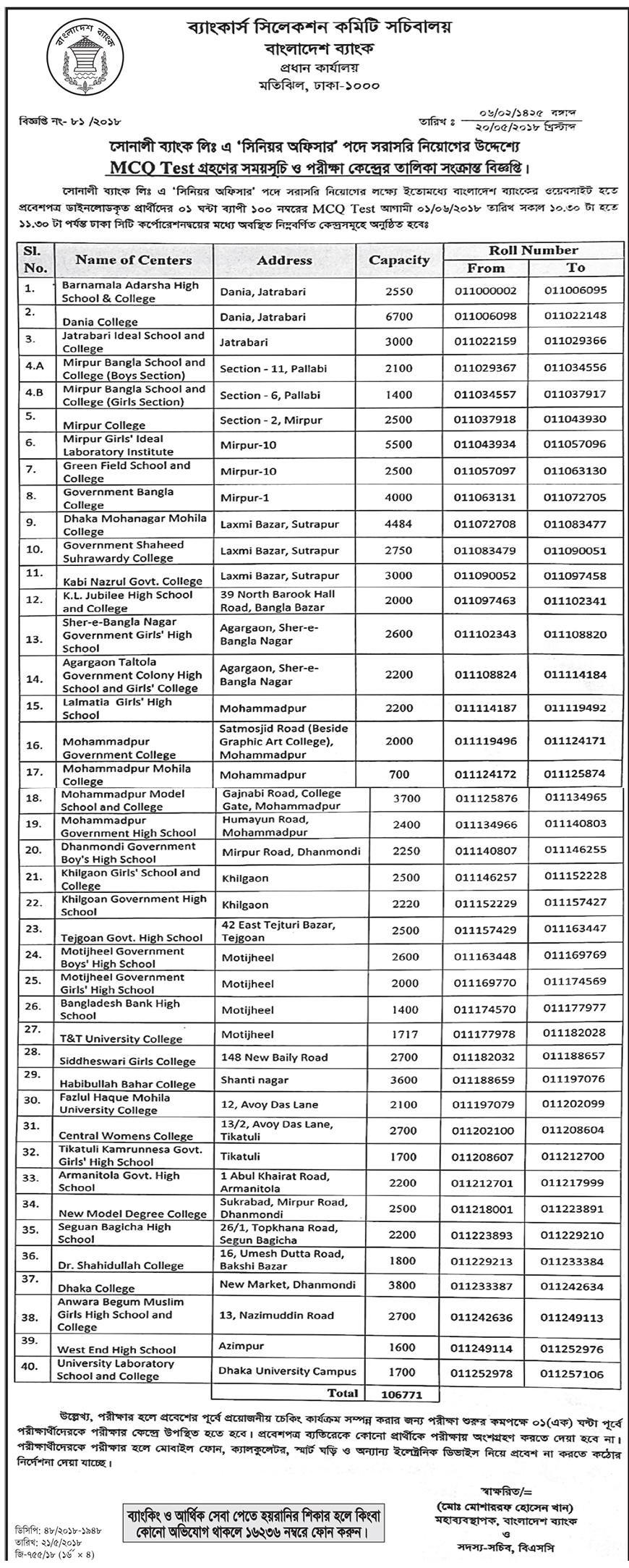 Sonali Bank Exam Schedule & Admit Card Download Notice 2018