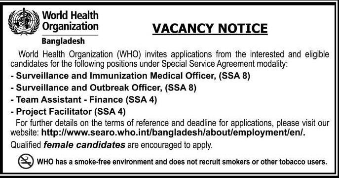 World Health Organization (WHO) Job Circular 2018