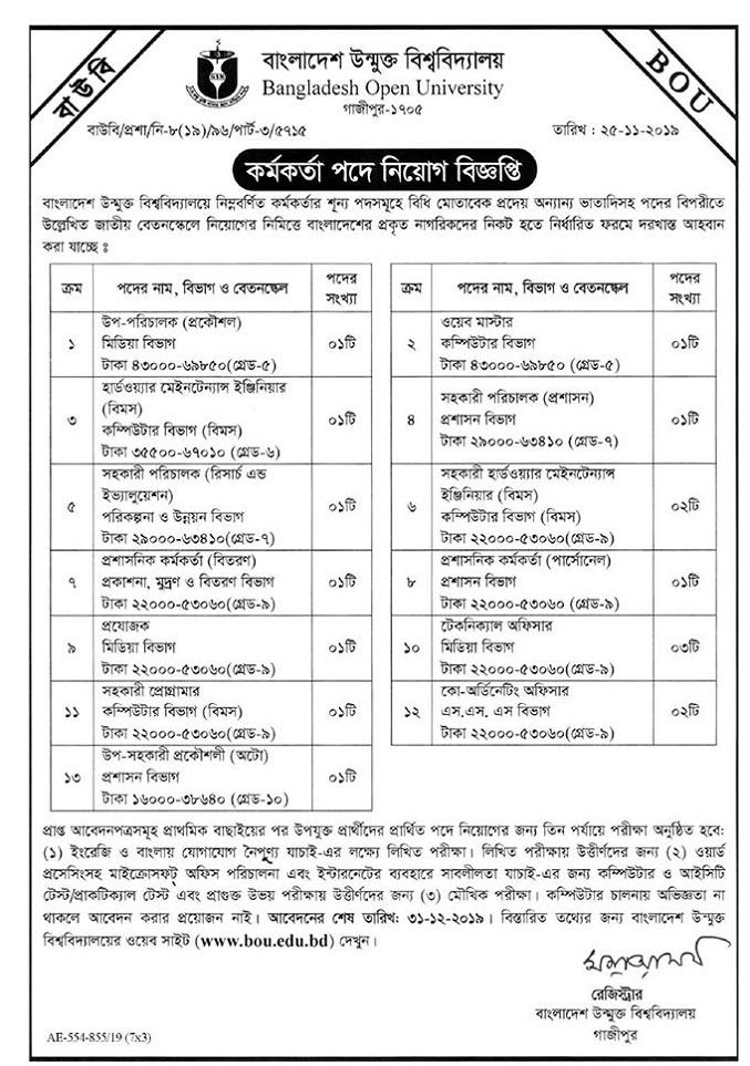 Bangladesh Open University (BOU) Job Circular 2019
