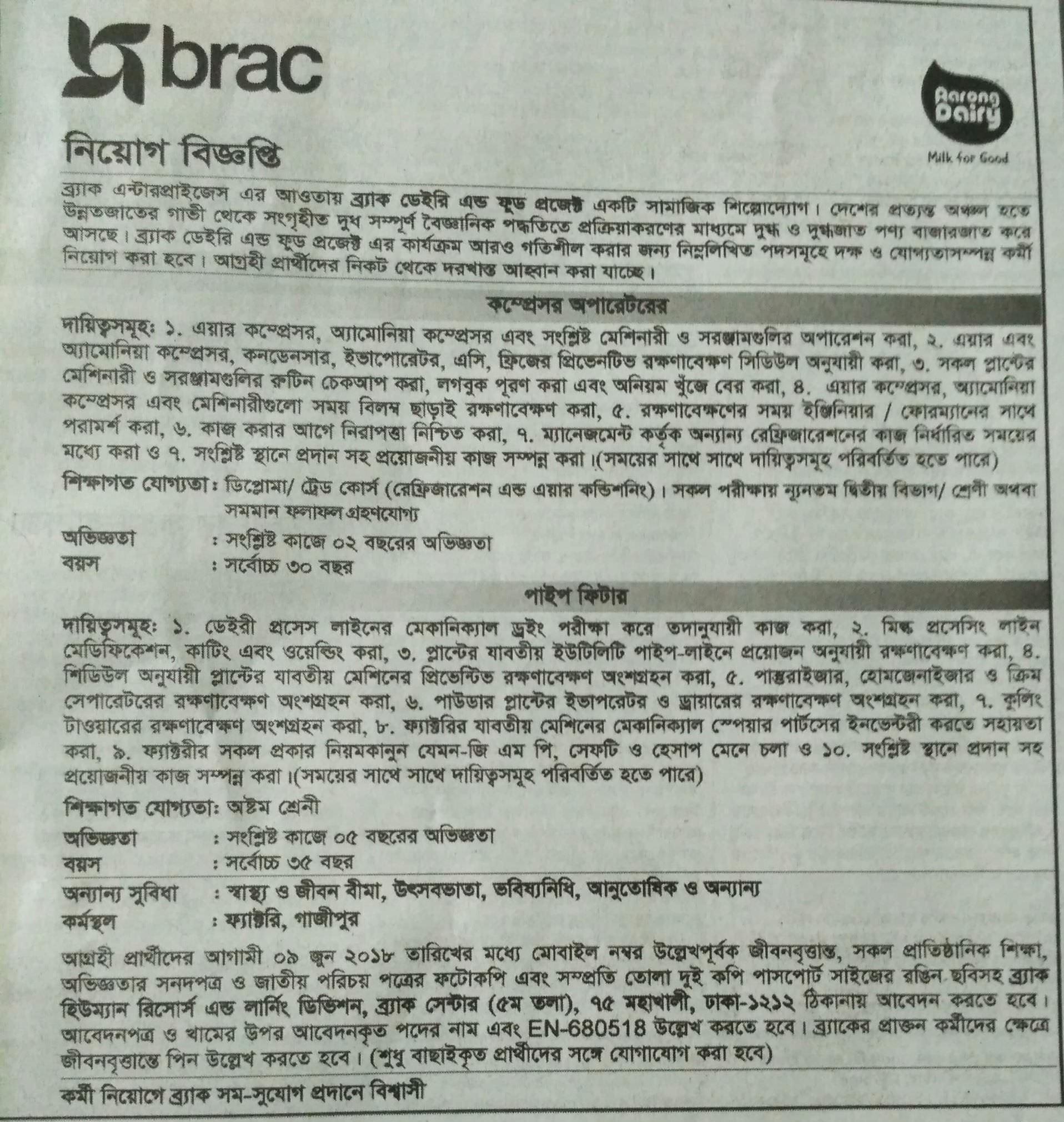 Brac Job Circular 2