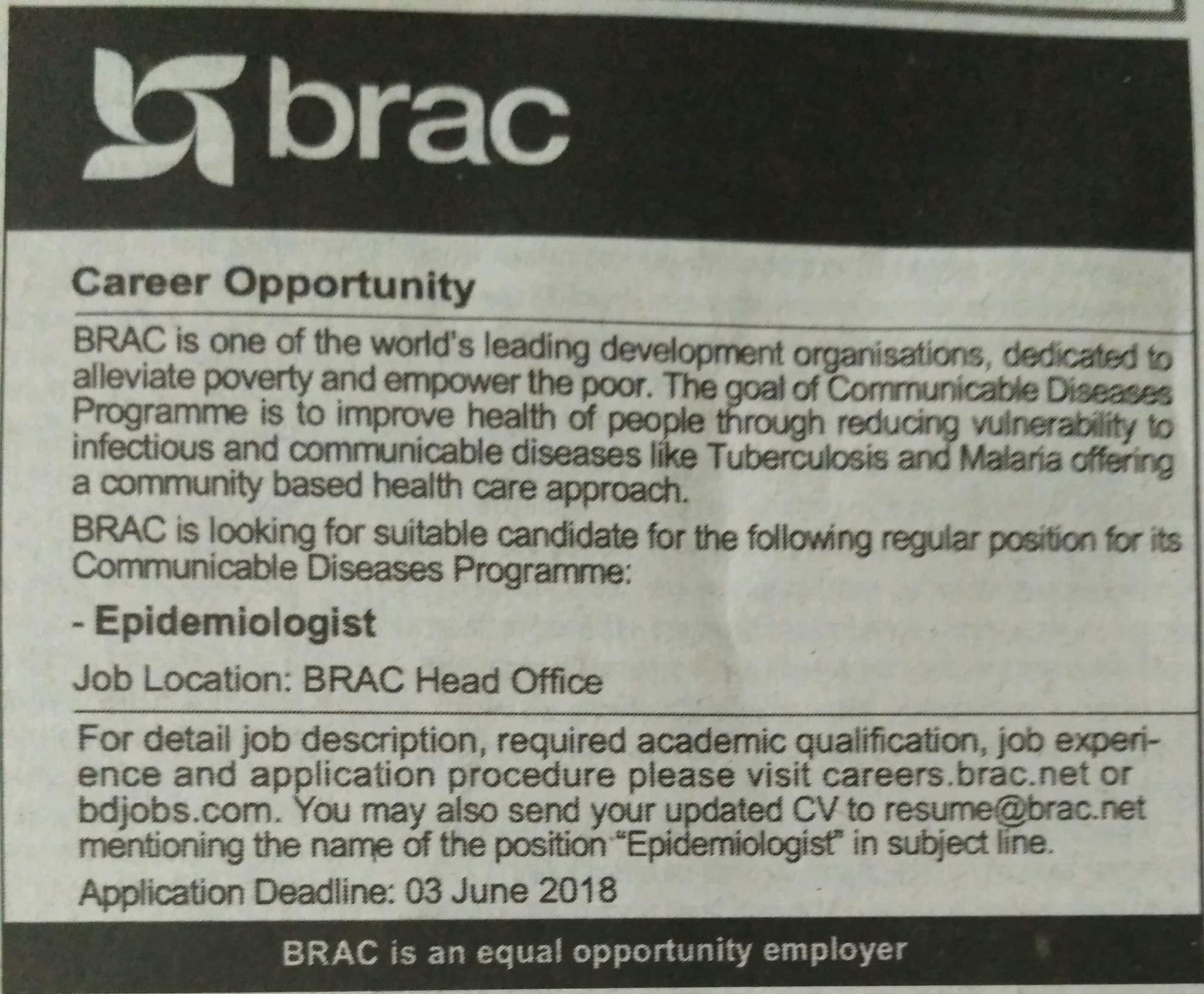 Brac Job Circular 2018
