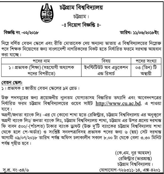 Chittagong University Job Circular 2018