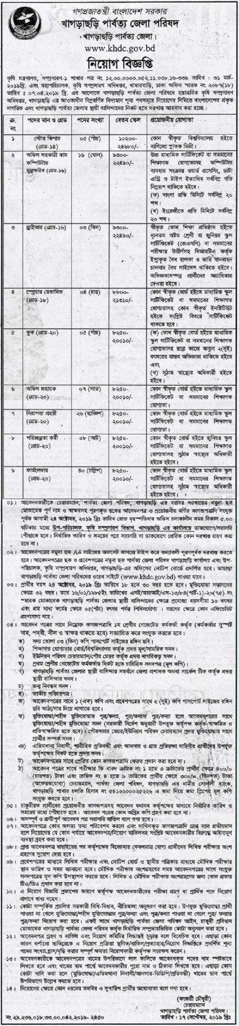Khagrachari Hill District Council Office Job Circular 2019