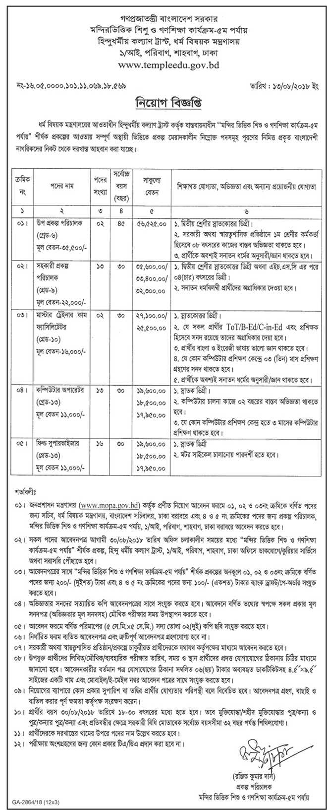 Department of Immigration and Passports Office Job Circular 2018