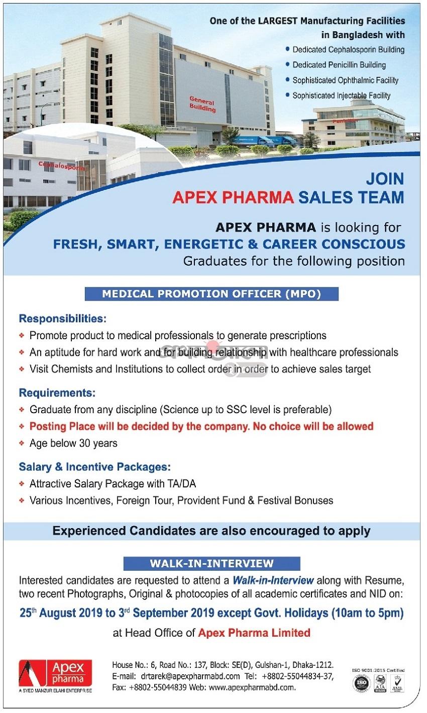 Apex Pharma Limited Job circular 2019