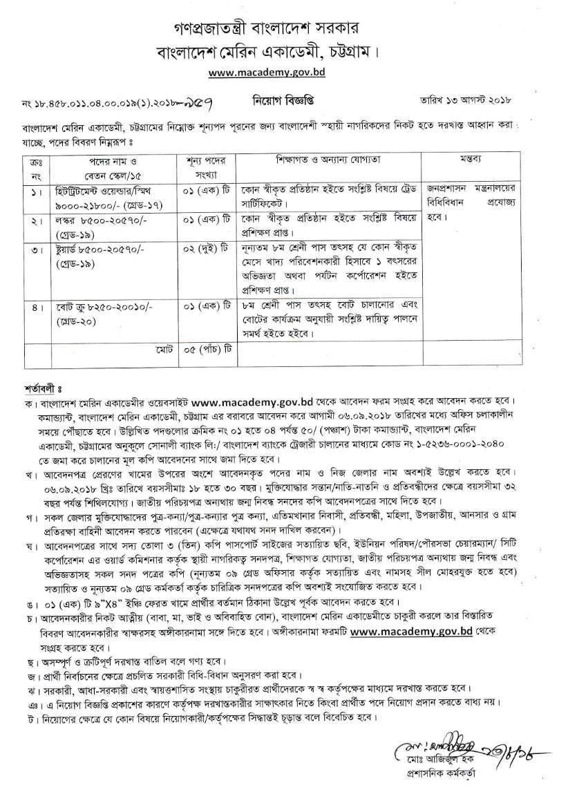 BANGLADESH MARINE ACADEMY MACADEMY JOB CIRCULAR 2018