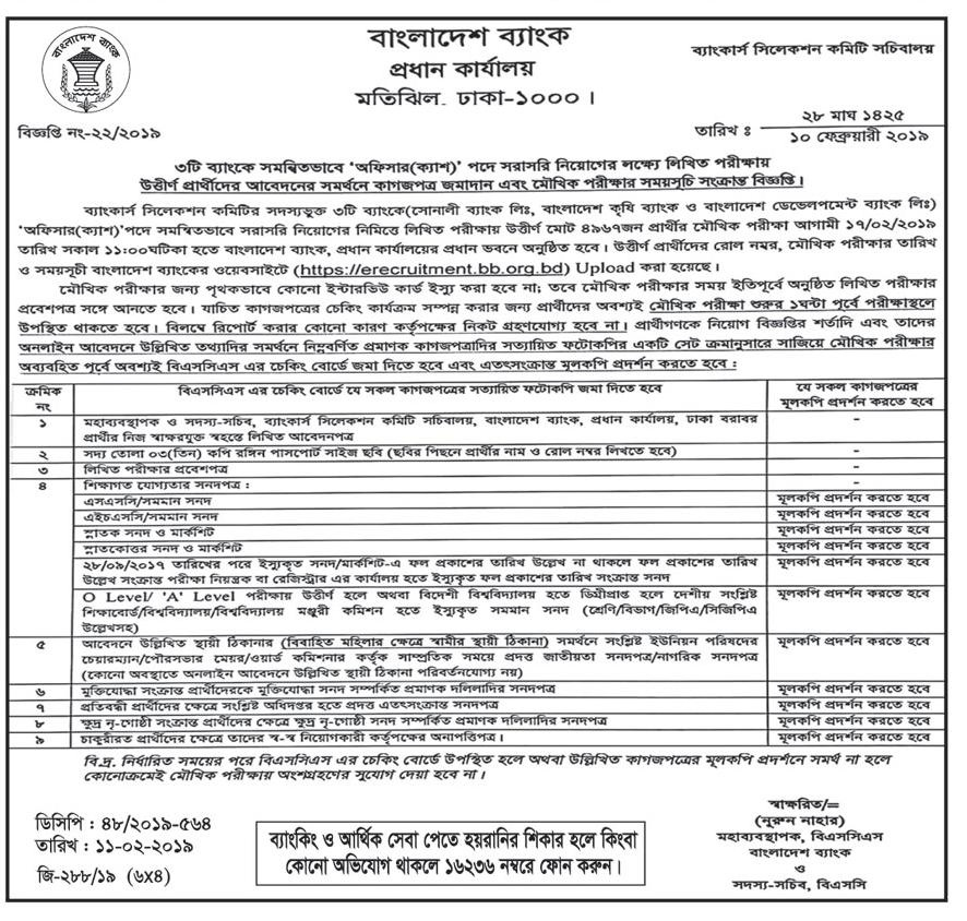 Bangladesh Bank Written Exam Result 2018