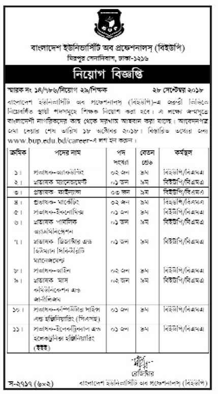 Bangladesh University of Professionals (BUP) Job Circular 2018