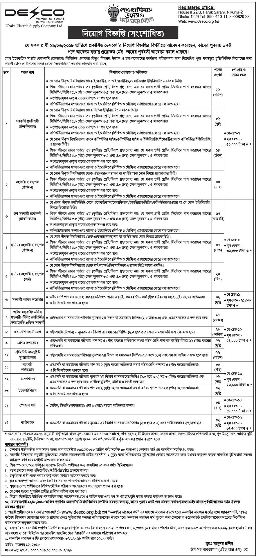 Dhaka Electric Supply Company Limited (DESCO) Job Circular 2018