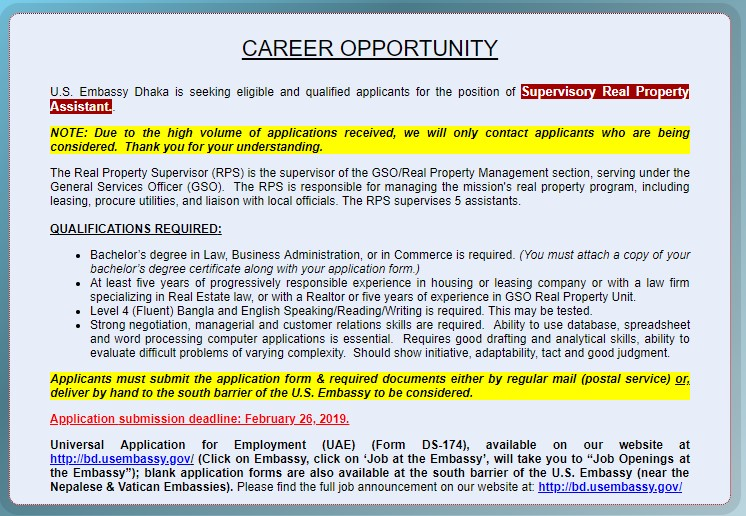 Job Opportunity at The US Embassy 2019