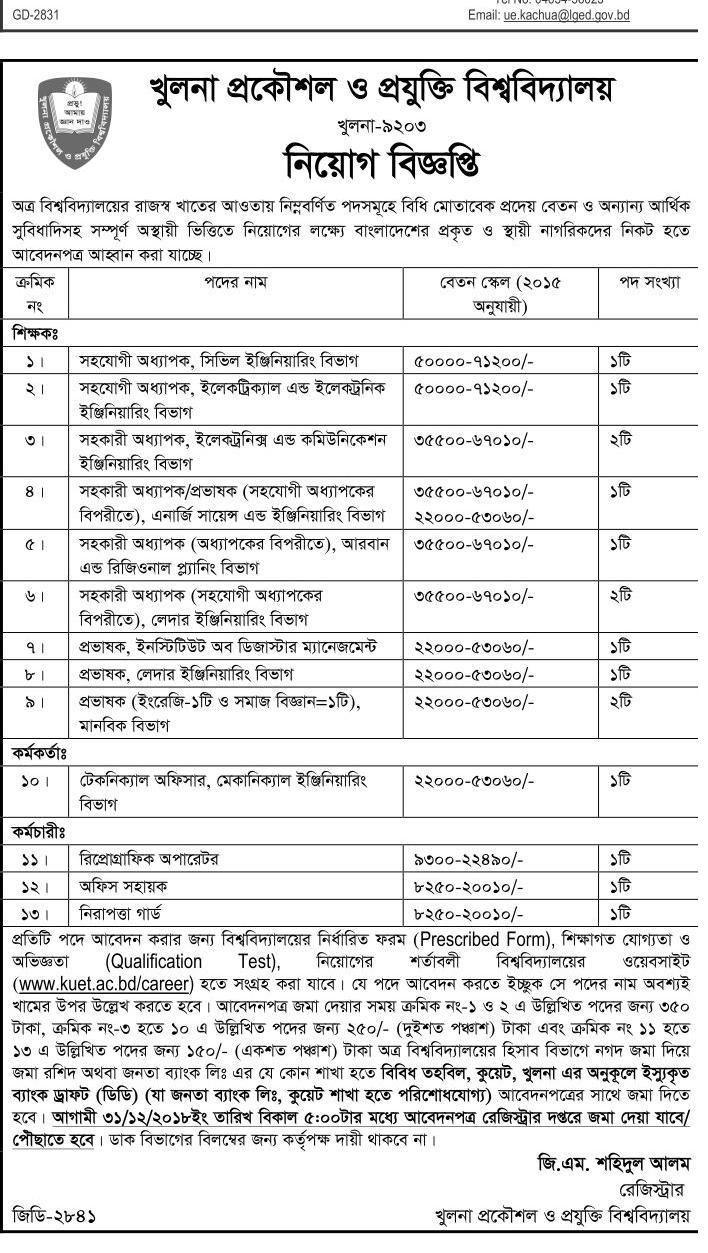 Khulna University of Engineering & Technology kuet Job Circular 2018