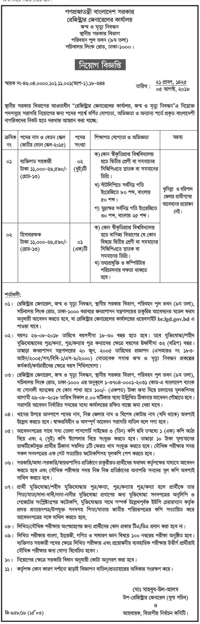 Local Government Division LGD Job Circular 2018