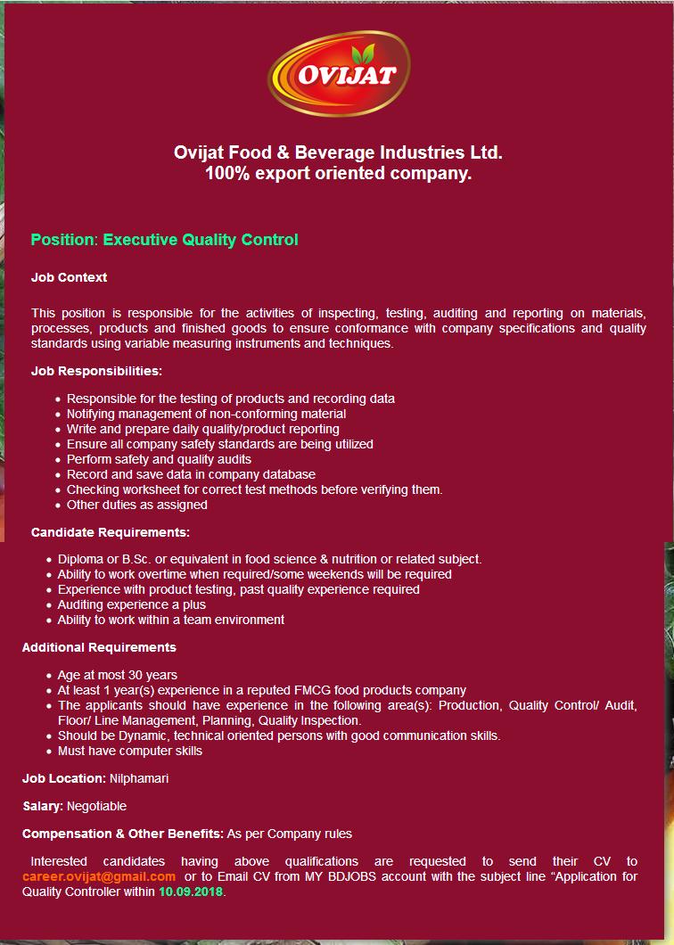 Ovijat Food & Beverage Industries Limited Job Circular 2018