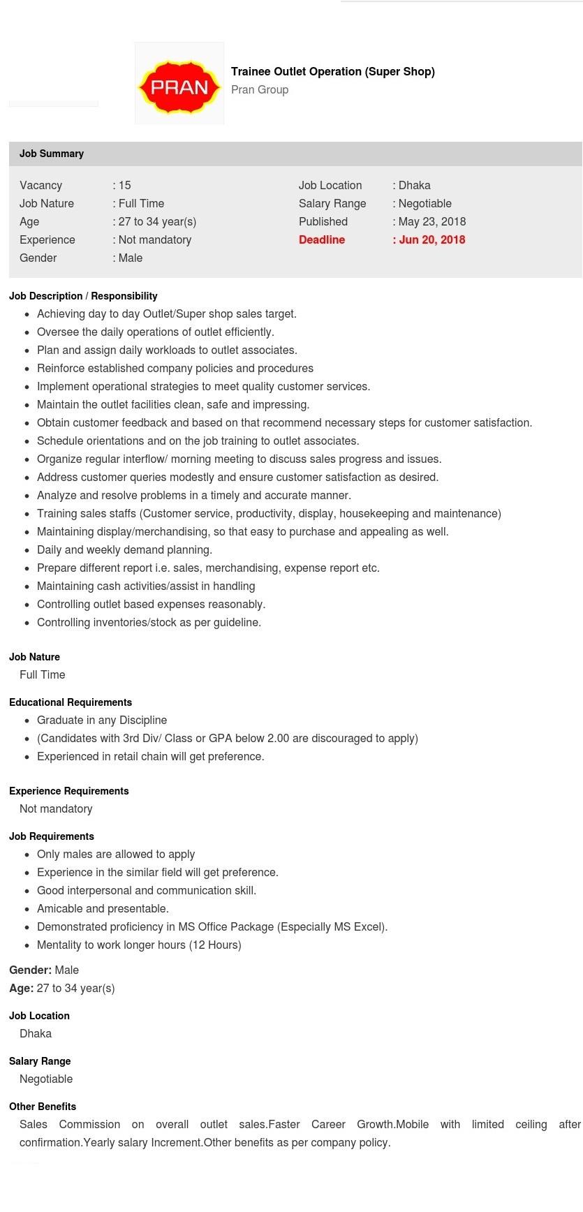 Pran-RFL Group Job Circular 2018