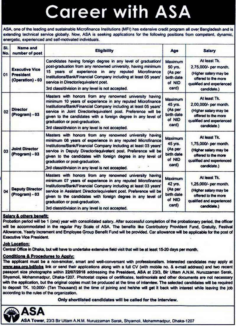 ASA NGO Job Circular 2018
