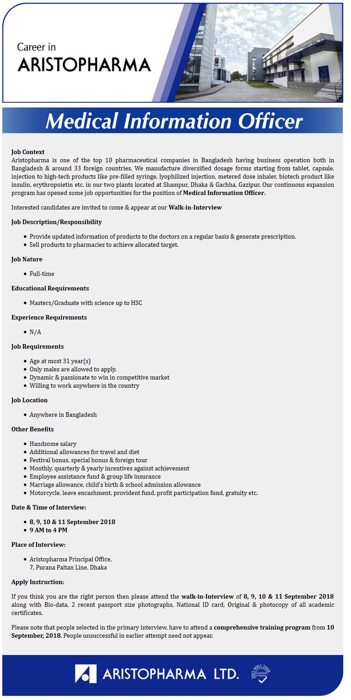 Aristopharma Ltd Job Circular 2018