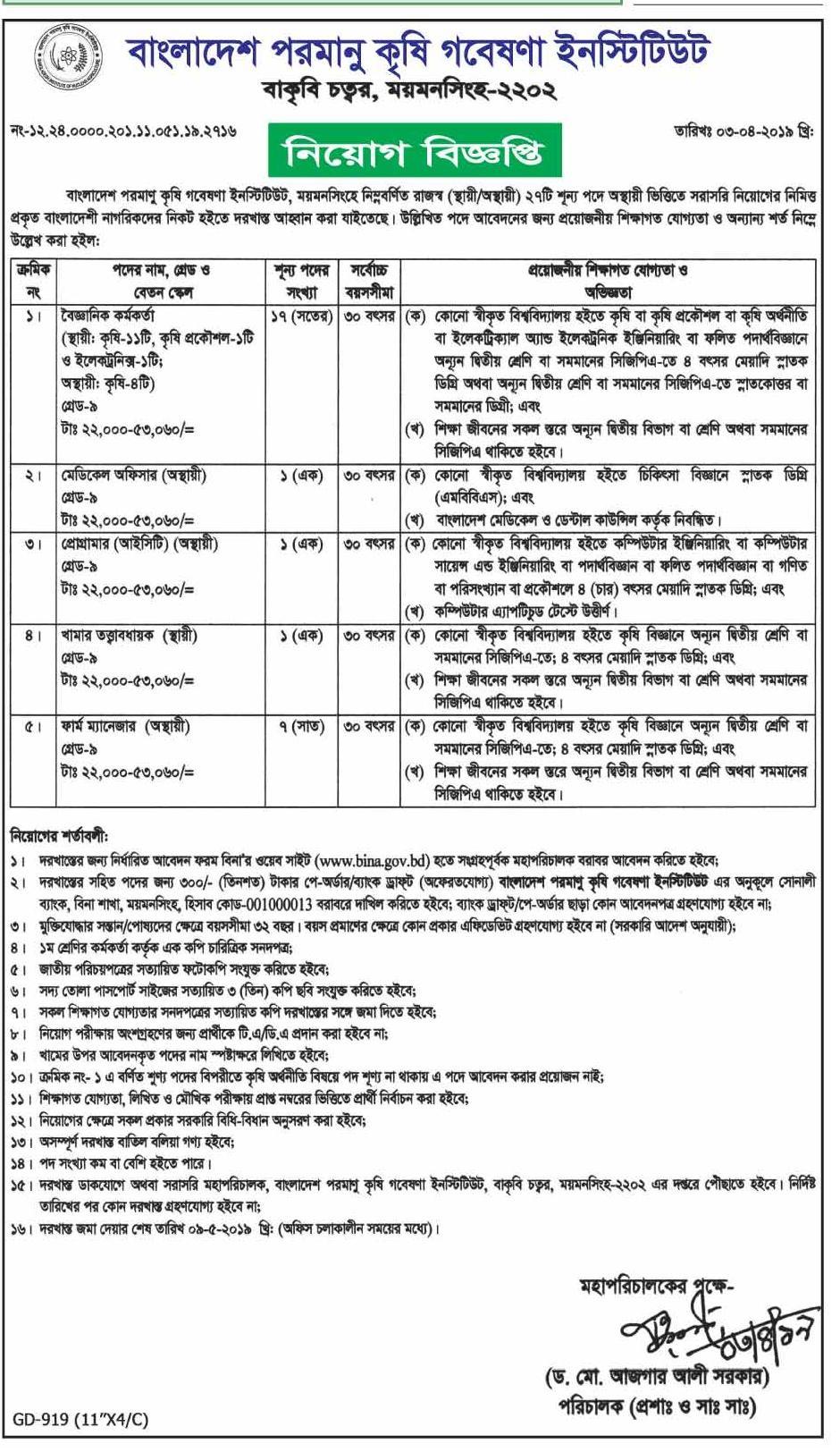 Bangladesh Institute of Nuclear Agriculture Job Circular 2018