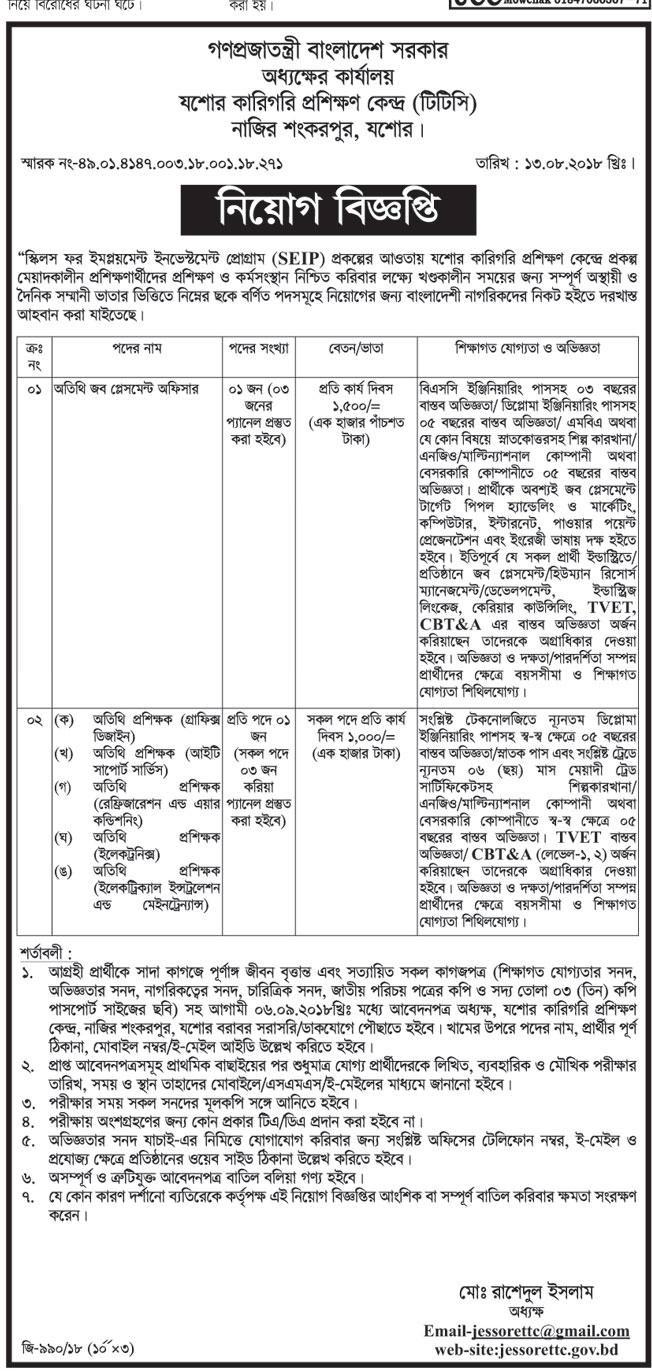 Bangladesh Technical Training Center (TTC) Job Circular 2018
