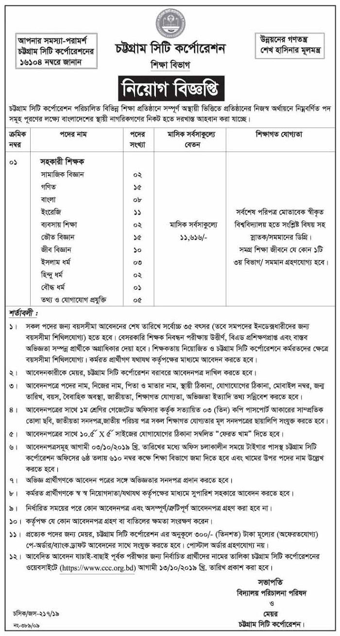 Chittagong City Corporation Job Circular 2019