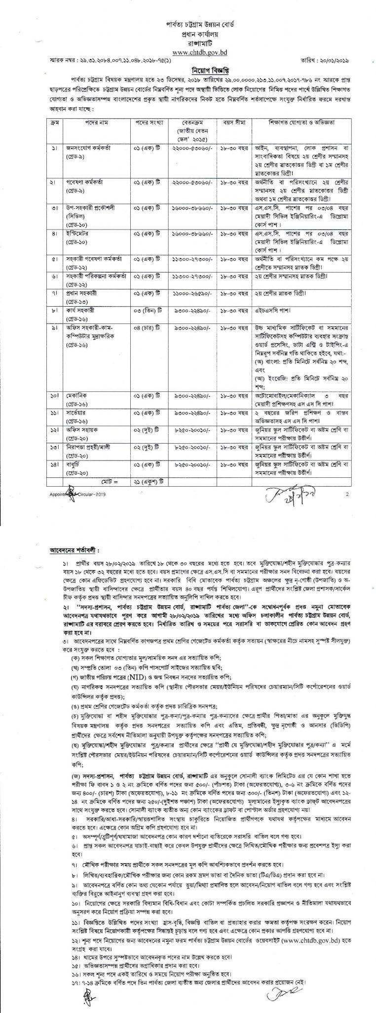 Chittagong Hill Tracts Development Board Job Circular 2019