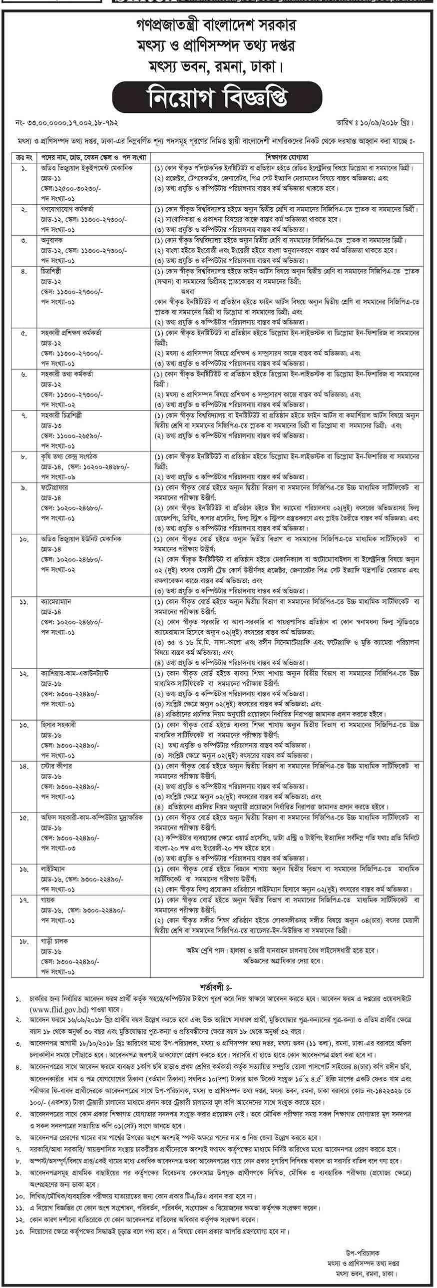 Department-of-Fisheries-and-Livestock-job-circular-2018