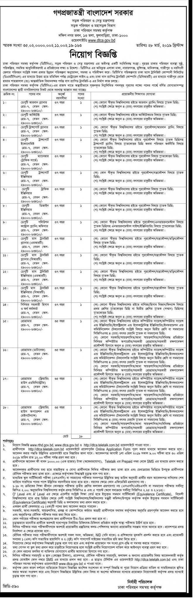 Dhaka Transport Coordination Authority (DTCA) Job Circular 2019