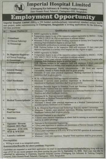 Imperial Hospital Limited Job Circular 2018