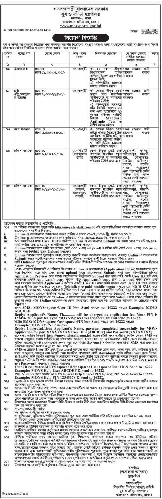 Ministry Of Youth and Sports Job Circular 2019