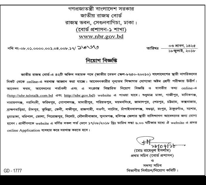National Board of Revenue Jobs Circular 2018