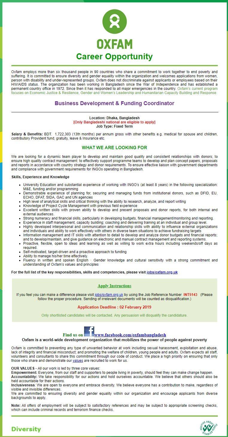 Oxfam Job Circular 2019