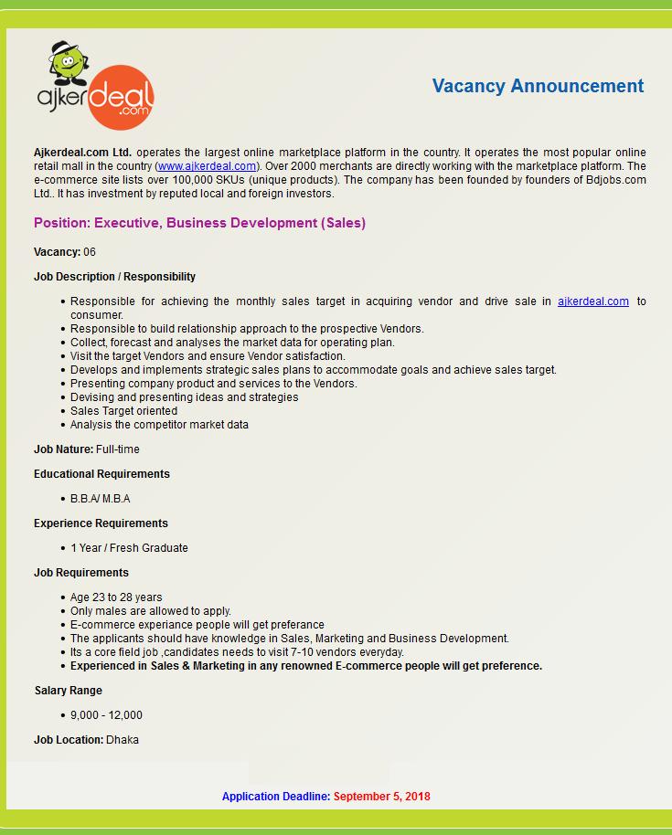 Ajkerdeal.com Ltd Job Circular 2018