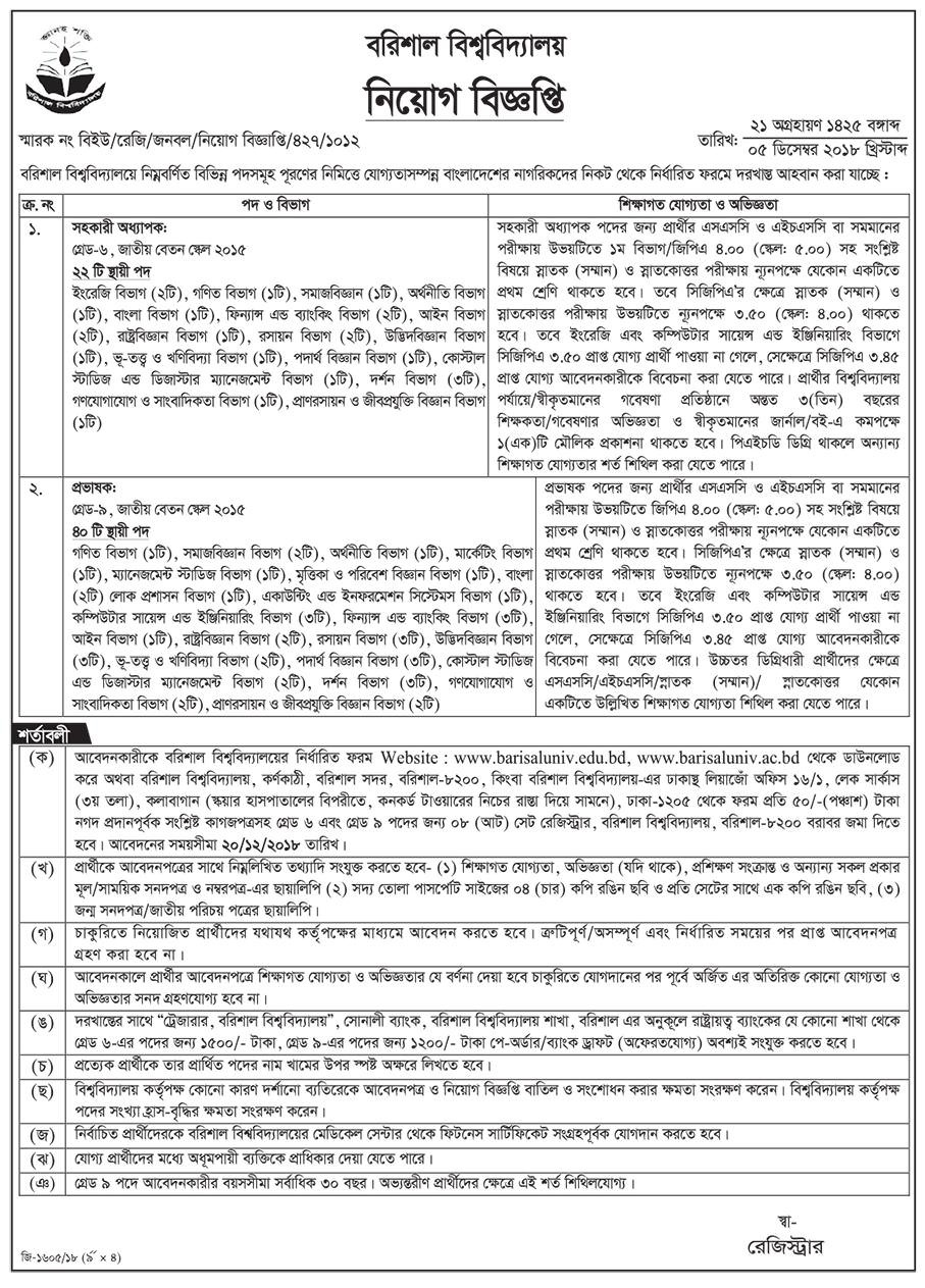 Barisal University Job Circular 2018