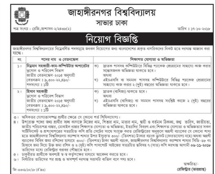 Jahangirnagar University JU Job Circular 2018