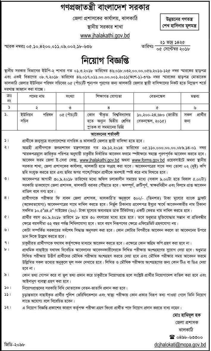 Local Government Division job circular 2018