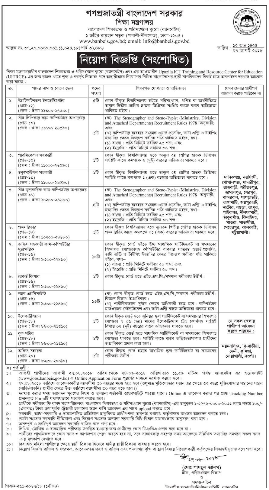 Ministry Of Education moedu Job Circular 2018