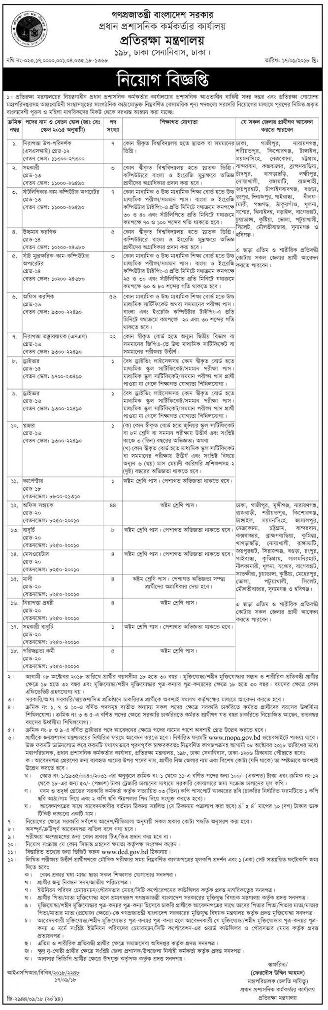 Ministry of Defence MOD Job Circular 2018
