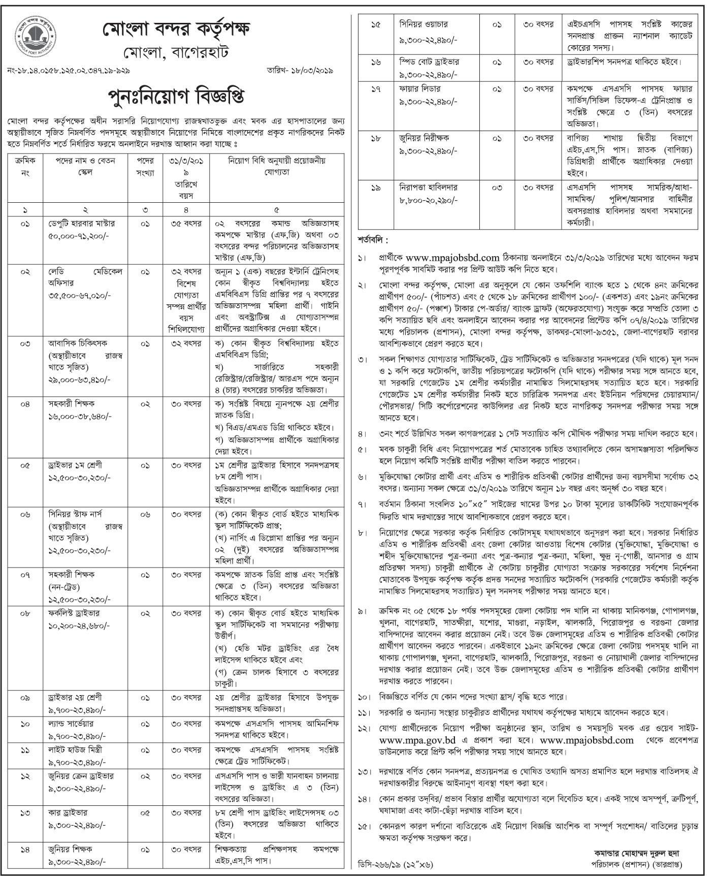 Mongla Port Authority MPA Job Circular 2019