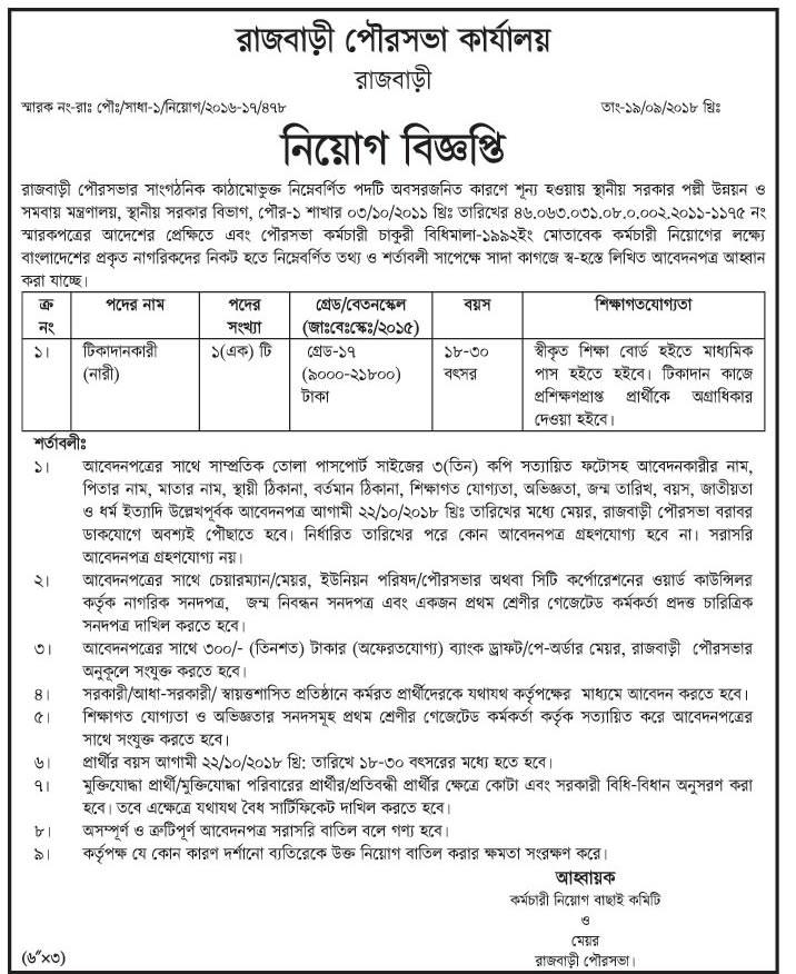 Municipality Job circular 2018