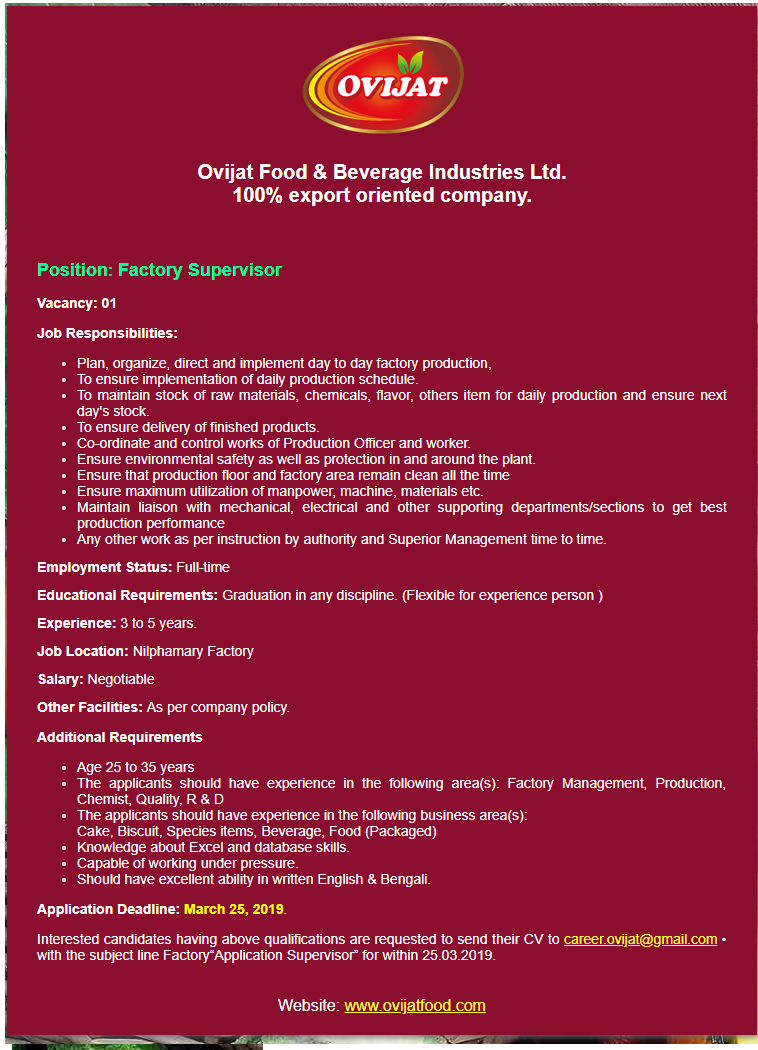 Ovijat Food & Beverage Industries Limited Job Circular 2019