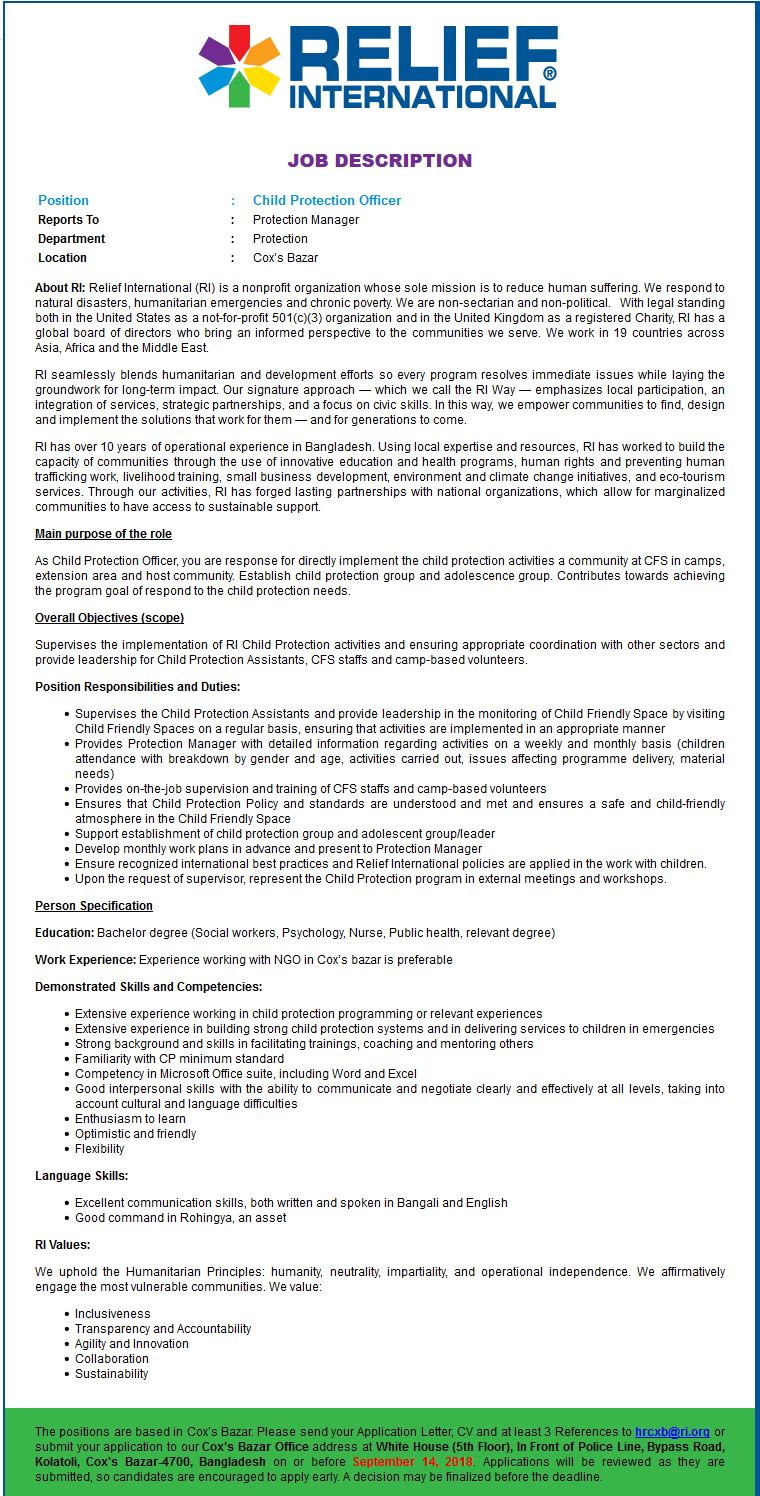 Relief International (RI) Job Circular 2018