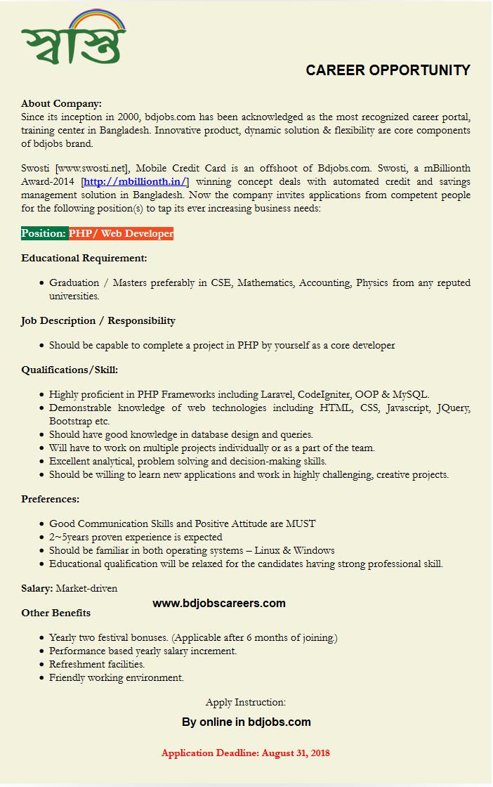 Swosti Limited Jobs Circular 2018