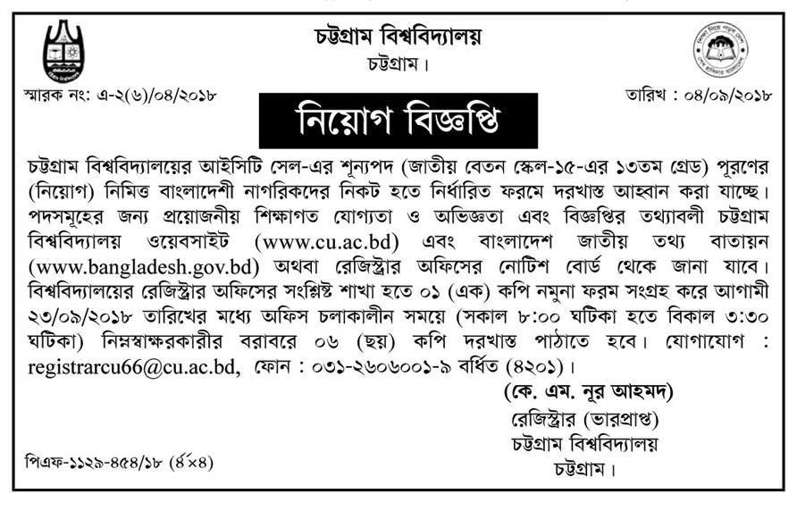 University of Chittagong CU Job Circular 2018