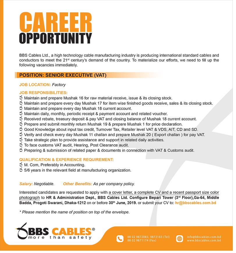 BBS Cables Ltd Job Circular 2019